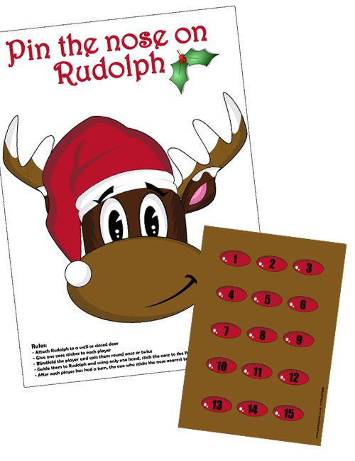 Pin The Nose On Rudolph Game With Stickers