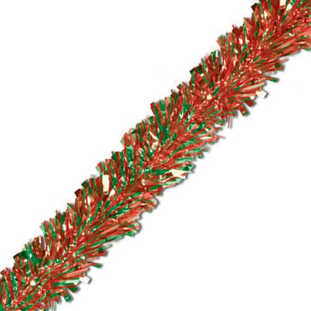 Red & Green Luxury Tinsel Garland - 6 Ply - 4.6m