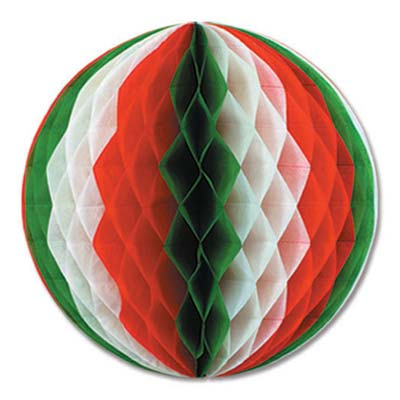 Red, White & Green Tissue Ball - 30.5cm