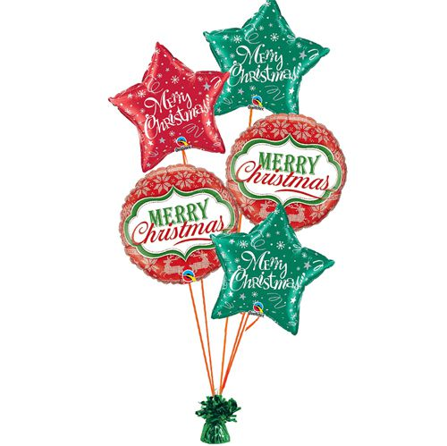 Bouquet of Red and Green Christmas Balloons