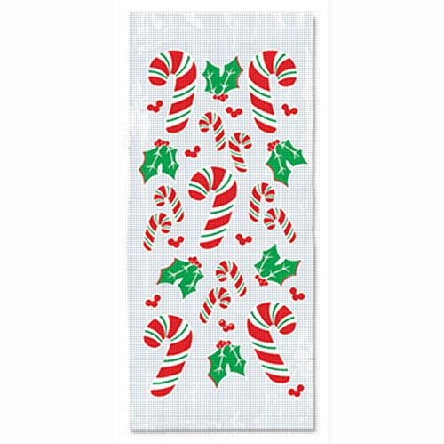 Candy Cane & Holly Cello Bags - 22.9cm - Pack of 25