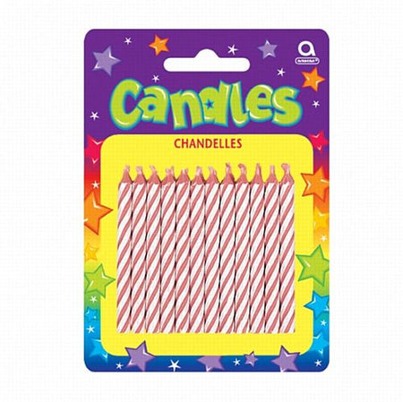 Pink Candy Stripe Candles - Pack of 24