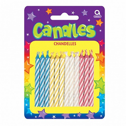 Assorted Candy Stripe Candles - 6.3cm - Pack of 24