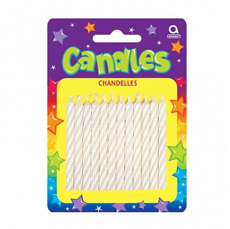 White Candy Stripe Candles - 6.3cm - Pack of 24