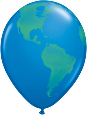 Globe Qualatex Balloons - 27.9cm - Pack of 10