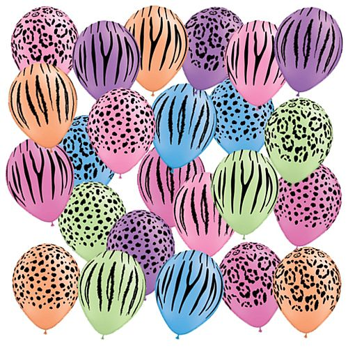 Safari Neon Assortment Qualatex Balloons - 27.9cm - Pack of 10