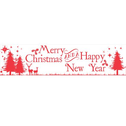 Merry Christmas & Happy New Year Banner - 120 x 29.7cm- Each