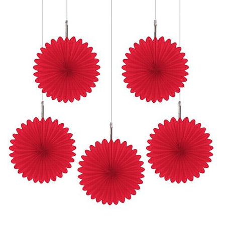 Red Hanging Fan Decoration - 15.2cm - Pack of 5