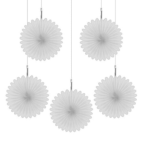 White Hanging Fan Decoration - 15.2cm - Pack of 5