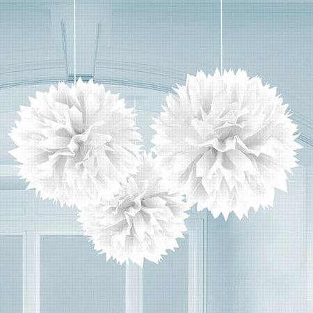 White Fluffy Paper Decorations - 40cm - Pack of 3