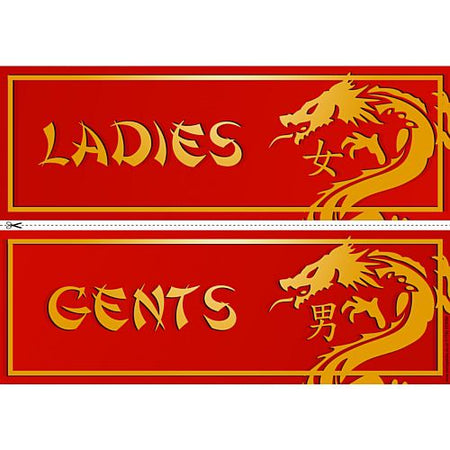 Chinese New Year Dragon Toilet Signs Ladies Gents
