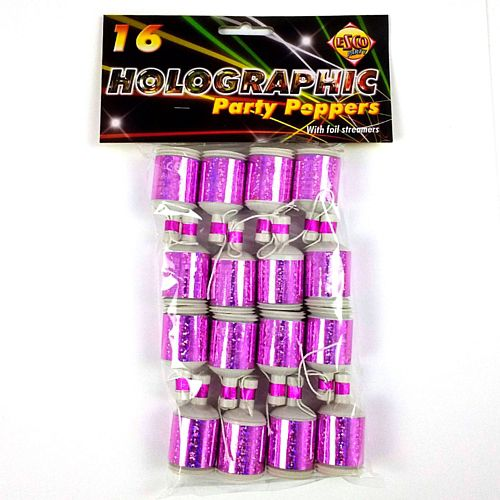Party Popper Pink Holo - Pack of 16