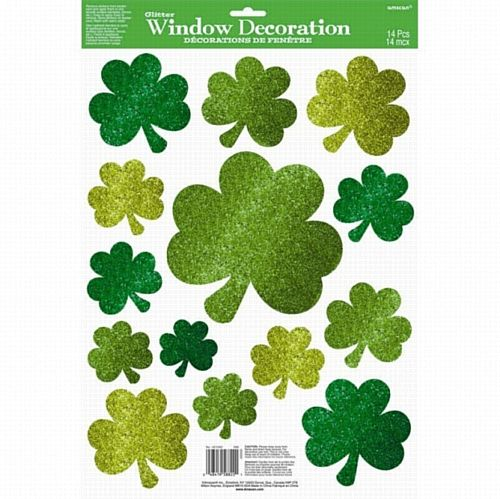 Lucky Shamrock Wishes Glitter Window Decoration - 45.7cm