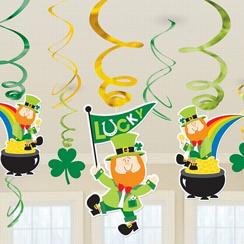 St Patrick's Swirl Decoration Value Pack - 25.4cm - Pack of 12