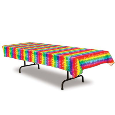 Plastic Tie-Dyed Tablecloth - 2.74m