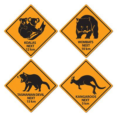 Australian Outback Road Sign Cutout Wall Decorations - 40.6cm - Pack of 4