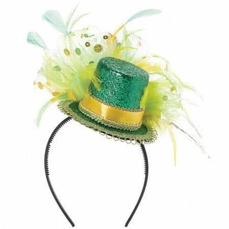 St Patrick's Day Feathered Hat on Headband