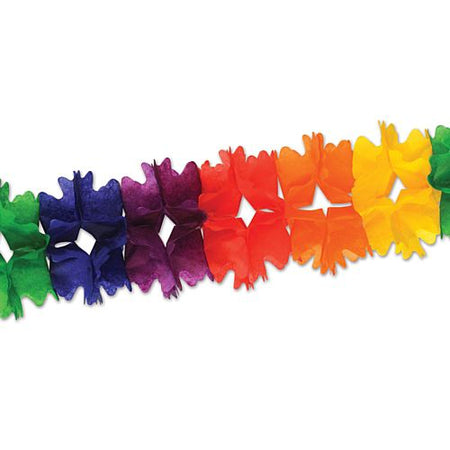 Rainbow Tissue Garland - Giant - 4.4m