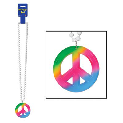 Beads with Tie-Dyed Peace Sign Medallion - 91.4cm
