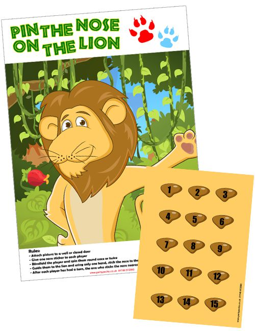 Pin The Nose On The Lion Game With Stickers