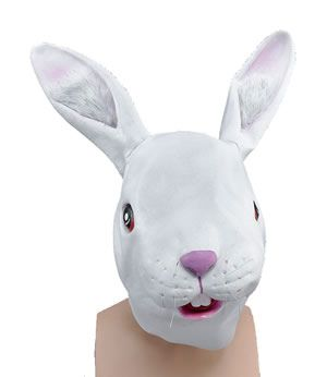 White Rabbit Over The Head Mask