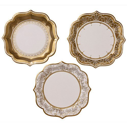Party Porcelain Gold Plates 20cm - Pack of 12