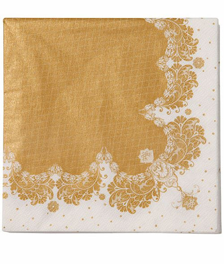 Party Porcelain Gold Napkins - Pack of 20 - 33cm