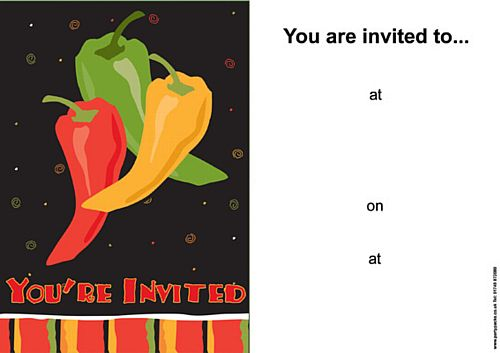 Fiesta Fun Themed Invites - Pack of 8