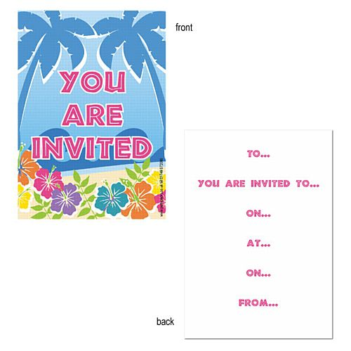 Island Party Themed Invites - Pack of 8