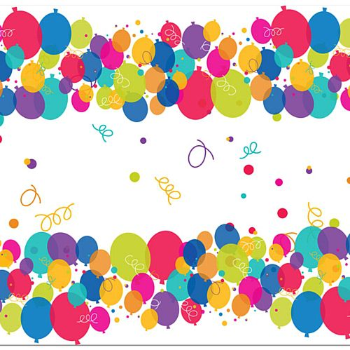 Birthday Balloons Paper Table Runner - 120 x 30cm