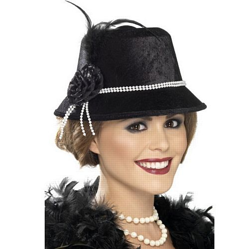 20'S Hat, Black With Flower