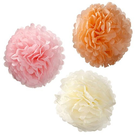 Large Pastel Tissue Pom Poms - 38cm - Pack of 3
