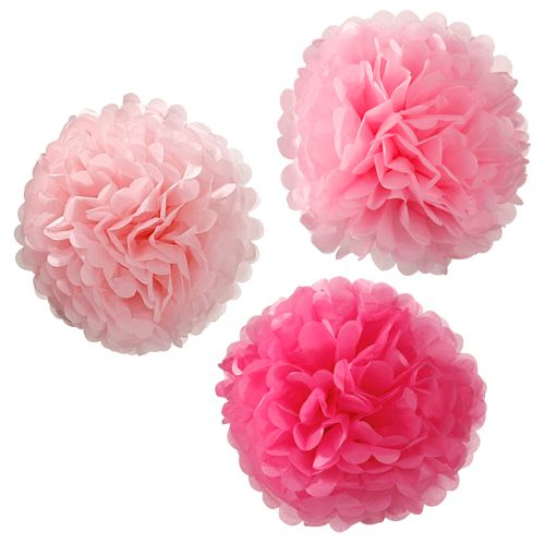 Tissue Pom Poms Pink Assortment - 38cm - Pack of 3