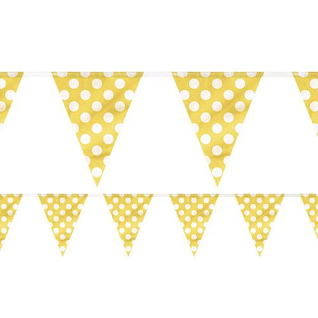 Yellow Dots Flag Bunting - 3.66m - Each