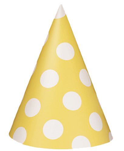 Yellow Dots Cone Hats - Pack of 8
