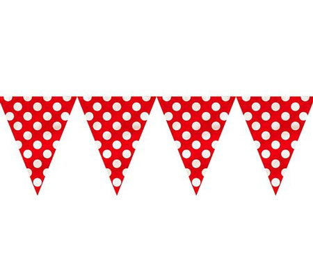 Red Dots Flag Bunting - 12ft -Each
