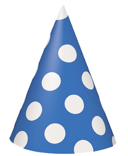 Blue Dots Cone Hats - Pack Of 8