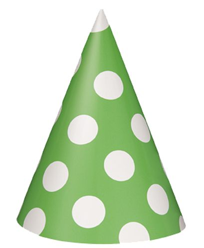 Green Dots Cone Hats - Pack Of 8