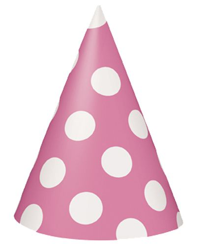Pink Dots Cone Hats - Pack of 8