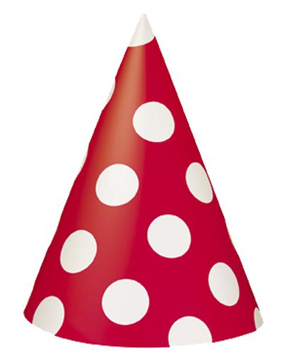 Red Dots Cone Hats - Pack of 8