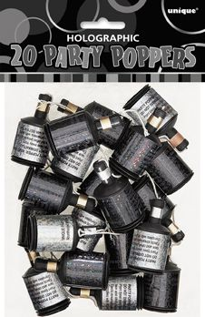 Glitz Black Party Poppers - Pack of 20