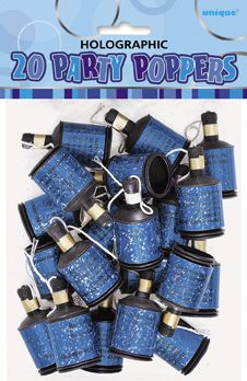 Glitz Blue Party Poppers - Pack of 20