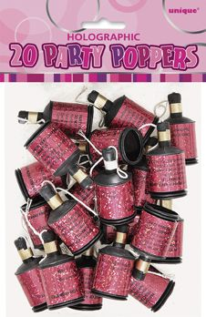 Birthday Glitz Pink Party Poppers - Pack of 20