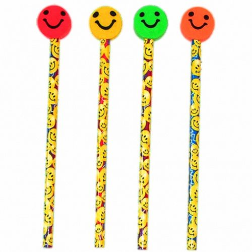 Smiley Themed Pencil with Eraser - Each