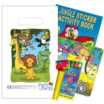 Filled Jungle Themed Party Bags - Pack of 100