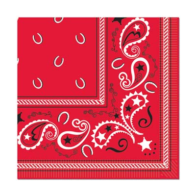 Bandana Beverage Napkins - 2-Ply - Pack of 16
