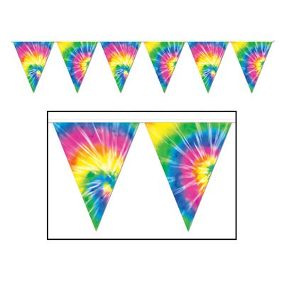 Tie-Dyed  'All Weather' Flag Bunting - 3.7m (12') - 12 Flags
