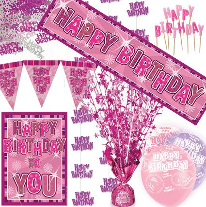 Pink Glitz '90th' Decoration Pack - Save Money!