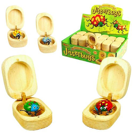 Wooden Jitterbug Toy - Assorted Colours - 4cm - Each