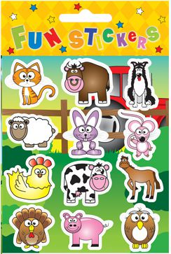 Farm Stickers - Assorted - 11.5cm Sheet - Sheet of 12